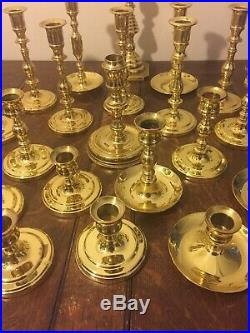 20 Solid Heavy Baldwin Brass Shiny Candlestick Candle Holders Reception VGC