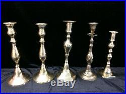 21 Brass Candlesticks Holder Wedding Reception Event Party Patina Vintage Lot 2