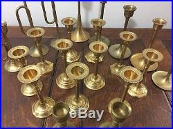 22 Brass Taper Candlesticks Graduated Heights Patina Wedding Event