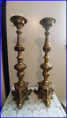 24'' Tall Pair Vintage Ornate Brass Castilian Candle Holders Solid & Heavy