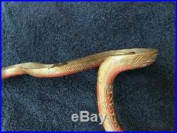 29 Vintage Brass Bronze Painted Cobra Snake Wall Sconce Candle Holder #18