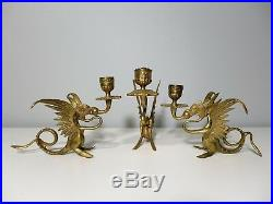 3 Vintage Brass Griffin Candlesticks Winged Dragon Candle Holders Mythical