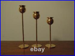 3 Vintage Tulip Candle Holders by Pierre Forsell Skultuna Sweden