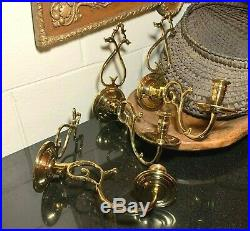 3 Virginia Metalcrafters Williamsburg CW16-3 Brass Wall Sconce Candle Holders