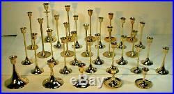 33 Brass Graduated Height Tapered Candlestick Candle Holders Wedding Party Decor