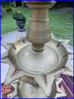 7 Foot 5 Tier Oil Lamp Vtg 83 Brass Candle Diyas Peacock Deepam Vilakku