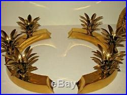 70s Mid Century Hollywood Regency 4 pc Brass Pineapple Candle Holder Parzinger