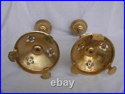 A PAIR OF ANTIQUE FRENCH GILT BRONZE, BRASS CHURCH CANDLE HOLDERS, 19th CENTURY