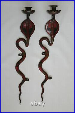 A Pair Of Rare Vintage Cobra Snake Brass Candle Holders Sconces