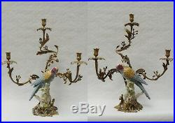 A Pair Of Three-branch Brass Mounted Porcelain Parrot Candle Holder # 550bb33