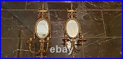 A Pair of Vintage Brass Double Candle Holders with Mirror Wall Sconces