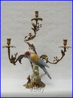 A Three-branch Brass Mounted Porcelain Parrot Candle Holder # 275bb33