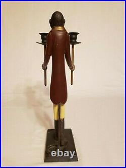 A Vintage Bronze/Brass Maitland Smith Butler Monkey Candle Holder