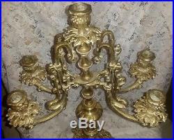 ABSOLUTELY GORGEOUS Vintage Ornate Brass Candelabra Crystal Prisms CHRISTMAS