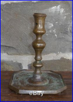 ANTIQUE 17th C BRASS CANDLESTICK LIGHTING CANDLE HOLDER EARLY HEART SHAPED FEET
