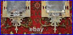 ANTIQUE MIRROR & BRASS CANDLE HOLDER PAIR Wall Sconces Gilt DOLPHINS 23 x 8