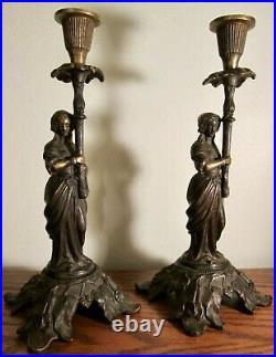 ANTIQUE PAIR of ART NOUVEAU FIGURATIVE CANDLE HOLDERS 11 Brass, Bronze, & Iron