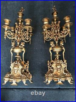 Angel Cherub Candle Holders Candelabra Brass 5 Arms Pair