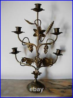 Antiker Messing Kerzenständer-Altar-Erntedank/antique brass candle holder-Altar
