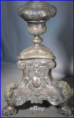 Antique 1700s Spanish Colonial Gilt Silver Brass Wood Pricket Candlestick TALL