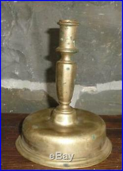 Antique 17th C Spanish Candlestick Early Brass Lighting C. 1690 Candle Holder
