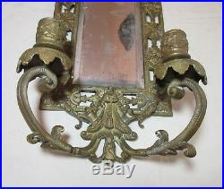 Antique 1800's ornate gilt bronze brass wall mirror candle holder sconce fixture