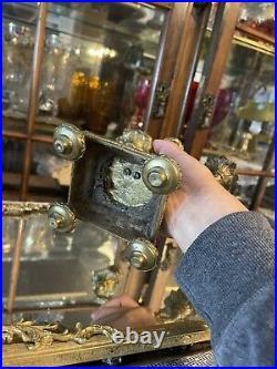 Antique 1800s Brass Double Candelabra Candlestick Children Fauns Figurines