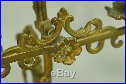 Antique 1800s Pair Double Candelabra Cast Brass Candle Holders Lion Rampant