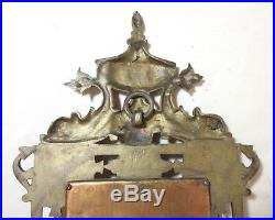 Antique 1800s ornate gilt bronze brass wall mirror candle holder sconce fixture