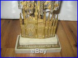 Antique 1849 Boston Gilt Brass Girandole Bigelow Chapel Gothic Marble Cathedral