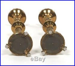Antique 1900s Pair Alter Candlesticks Heavy Bronze Brass Candleholders 26
