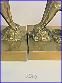 Antique 1910 Pair Brass Winged Griffins/Dragons & Turtles Gothic Candleholders