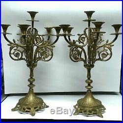 Antique 20 Heavy Brass Candelabra Set Twisted Center Candle Holder Ornate 5 Arm