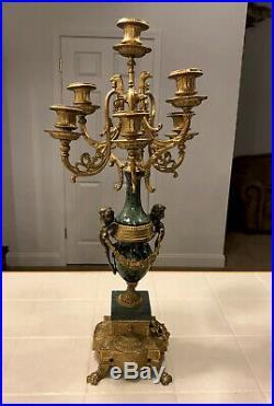 Antique 24 Italian Brevettato Candelabra Brass Marble Made Italy Eagles Cherubs