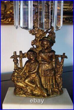 Antique 2pc Figural Girandole Gilt Bronze Brass Candle Holders w Crystal Prisms