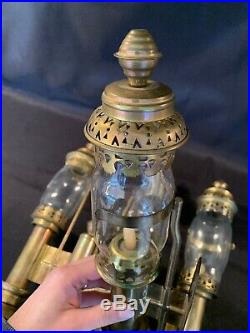 Antique 3 Piece Set Railway Train Carriage Brass Wall Sconces Candle Holders