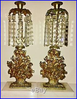 Antique 3pc Set Girandole Candelabras withCrystal Prisms, Gilded Brass on Marble
