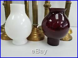 Antique 7 Brass Religious Altar Church Candlesticks Spring Loaded w Glass Globe