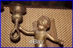 Antique Art Deco Angel Cherub Wall Sconce Candle Holder Fixtures-Brass Metal-Pr