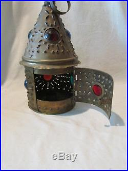 Antique B&H Jeweled Lantern Candle Holder Chandelier Punched NH Car Trimming Co