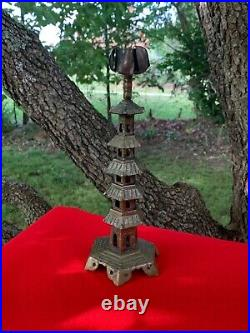 Antique BRASS Candle Stick Tulip Top Holder TIERED CHINESE PAGODA 9/3 sj17j