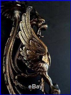 Antique BRASS Gold Gilt ART NOUVEAU Figural Dragon Candle Holder Pair, Ornate