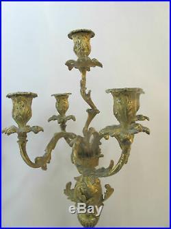 Antique BRASS Gold Gilt ART NOUVEAU Figural Floral Candelabra Candle Holder Pair