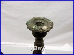 Antique Barley Twist Candle Holder Oak Candlestick Pair Brass Scottish Thistle