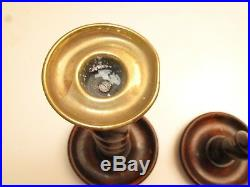 Antique Barley Twist Pair Of Candle Sticks Stands W Brass Cups 19th C Walnut