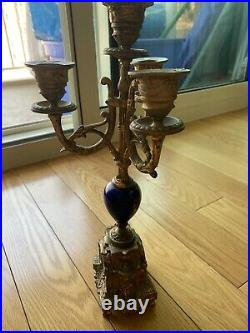 Antique Baroque French Porcelain & Brass Candelabra Tall 13 Inches