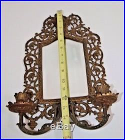 Antique Bradley Hubbard Brass & Beveled Mirror Gothic Candle Holder wall Sconce