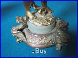 Antique Brass Angel Candle Holder Marble Base 9 1/2 Smll