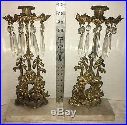 Antique Brass Candelabra Girandole Candle Holder Gold Coal Miners Glass Prisms