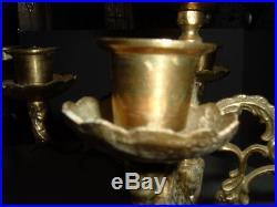 Antique Brass Candelabra Holder Pair 2 Heavy Ornate 5 Candle Turkish